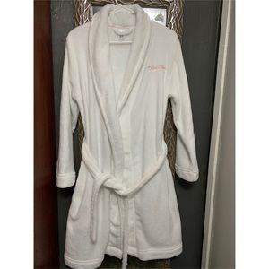 Calvin Klein Plush Shawl Collar Tie Robe